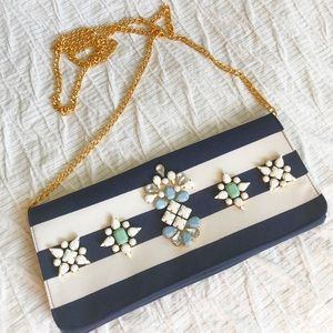 Fashionable Navy and White Clutch W/ Rhinestones